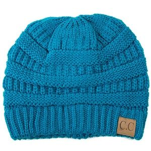 C.C Cable Knit Solid Beanie-HAT-20A_TEAL